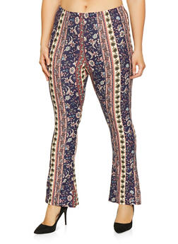 Plus Size Printed Bell Bottom Pants - 1961074010138