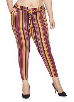 Plus Size Striped Tie Front Pants - MUSTARD - 1961074010517