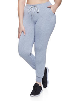Plus Size Drawstring Waist Fleece Lined Joggers - 1961074010533