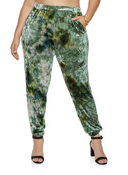 Plus Size Tie Dye Crushed Velvet Joggers - 1961074010574
