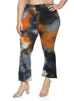 Plus Size Tie Dye Waffle Knit Flared Pants - 1961074010575