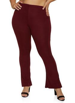 Plus Size Brushed Rib Knit Flared Pants - 1961074010576