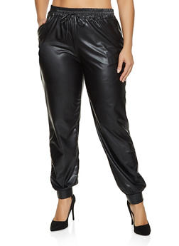Plus Size Faux Leather Solid Joggers - 1961074010581