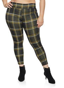 Plus Size Plaid Pull On Dress Pants - 1961074010608