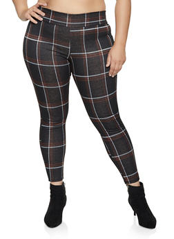 Plus Size Plaid Pull On Dress Pants - 1961074010608