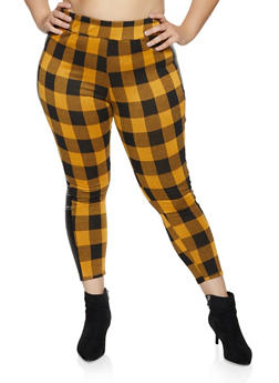 Plus Size Faux Leather Trim Plaid Flannel Pants - 1961074010609