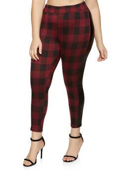 Plus Size Faux Leather Trim Plaid Flannel Pants - 1961074010609