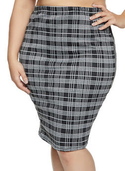 Plus Size Faux Leather Trim Plaid Pencil Skirt - 1961074010611