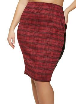 Plus Size Faux Leather Trim Plaid Pencil Skirt - 1961074010611