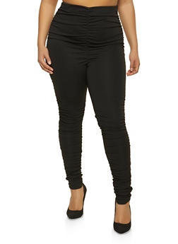 Plus Size Ruched Pull On Pants - 1961074010621