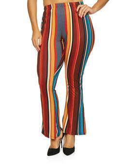 Plus Size Striped Bell Bottom Pants - 1961074011595