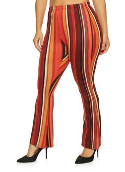 Plus Size Striped Bell Bottom Pants - 1961074011595
