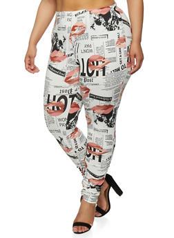 Plus Size Lip Newspaper Print Leggings - 1961074015014