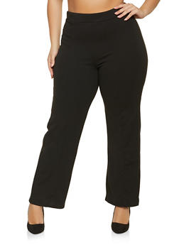 Plus Size Pull On Wide Leg Pants - 1961074015060