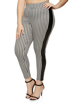 Plus Size Faux Leather Trim Houndstooth Pants - 1961074015061