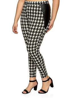 Plus Size Houndstooth Crepe Knit Pants - 1961074015095