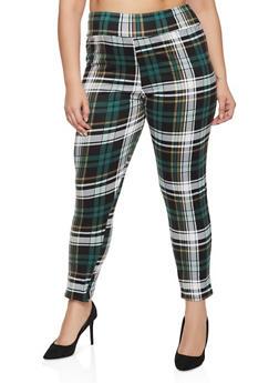 Plus Size Plaid Pull On Pants - 1961074015586