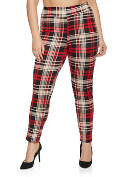 Plus Size Plaid Pull On Pants - 1961074015586