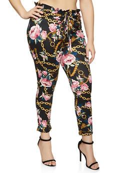 Plus Size Floral Chain Print Pants - 1961074015587