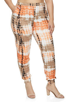 Plus Size Soft Knit Tie Dye Joggers - 1961074015588