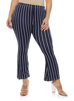 Plus Size Striped Flared Pants - 1961074015825