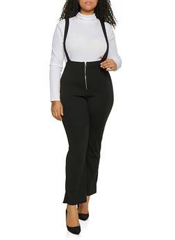 Plus Size Zip Front Suspender Pants - Black - Size 1X - 1961074015893