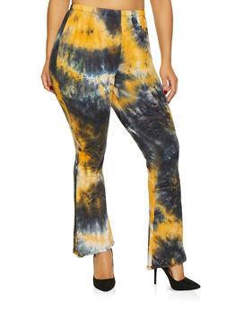 Plus Size Tie Dye Bell Bottom Pants - 1961074015932