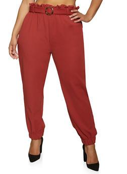 Plus Size Textured Knit Belt Detail Joggers - 1961075170003