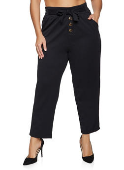Plus Size Button Detail Tie Front Pants - 1961075170004
