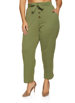 Plus Size Button Detail Tie Front Pants - 1961075170004