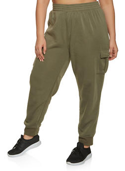 Plus Size Fleece Lined Cargo Joggers - 1961075175008