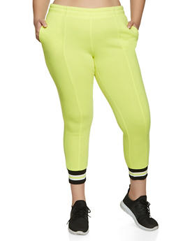 Plus Size Striped Tape Trim Joggers - NEON YELLOW - 1961075175009