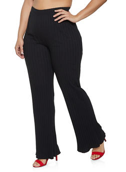 Plus Size Ribbed Flared Pants - 1961075175121