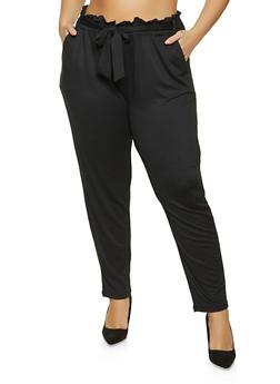 Plus Size Soft Knit Paper Bag Waist Pants - 1961075175214