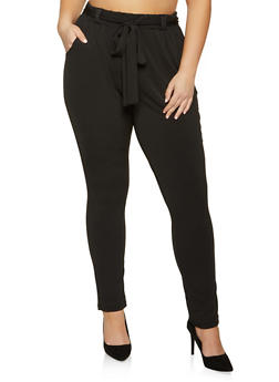 Plus Size Tie Waist Dress Pants - 1961075845400