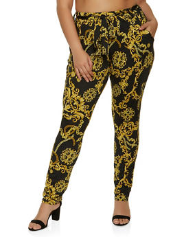 Plus Size Chain Print Dress Pants - 1961075845401