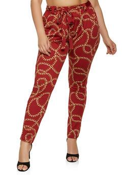 Plus Size Chain Print Dress Pants - 1961075845401