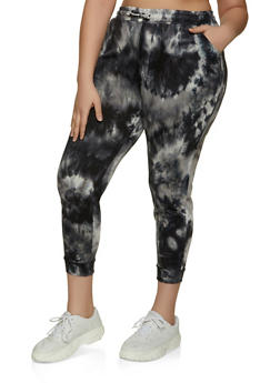Plus Size French Terry Tie Dye Joggers - 1961075848004