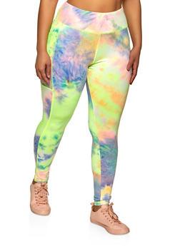 Plus Size Tie Dye Side Pocket Leggings - 1961075848010