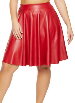 Plus Size Midi Faux Leather Skater Skirt - 1962020621734