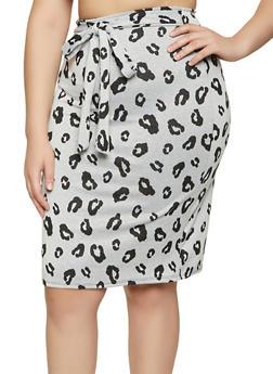 Plus Size Knit Cheetah Pencil Skirt - 1962020623164