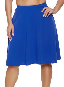 57480c8b82224 Plus Size Solid Skater Skirt - 1962020623461