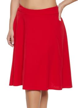 Plus Size Solid Skater Skirt - 1962020623461
