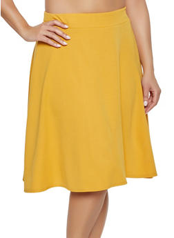 Plus Size Solid Skater Skirt - 1962020623461