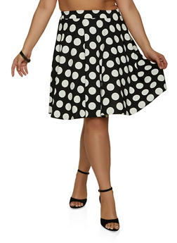 Plus Size Polka Dot Crepe Knit Skater Skirt - 1962020624374