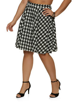 Plus Size Houndstooth Skater Skirt - 1962020624376