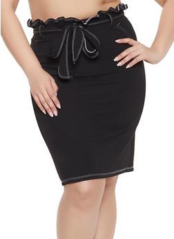 Plus Size Paper Bag Waist Skirt - 1962020624483