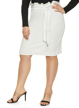 Plus Size Paper Bag Waist Skirt - 1962020624483