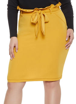 1704157e45670 Plus Size Paper Bag Waist Skirt - 1962020624483