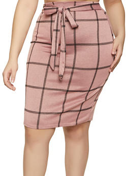 Plus Size Knit Plaid Pencil Skirt - 1962020626184